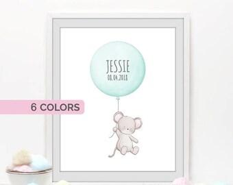 Mouse wall art, Woodland nursery decor, Custom name prints, personalized baby gift, balloon print, pastel nursery decor