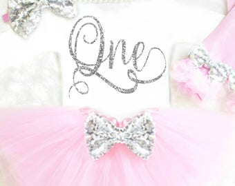 Baby Girl First Birthday Outfit Girl Pink and Silver Birthday Outfit One Birthday Outfit Pink and silver cake smash outfit ANY AGE 16