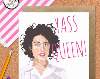 Funny Broad City Cards • Yass Queen Card • Broad City Card • Ilana Glazer Card • Galentines Card • Birthday Card • Feminism Card •