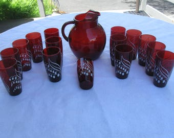 1950 Ruby Red Water Set With Lily Of The Valley Flowers 15 Tumblers Anchor Hockey