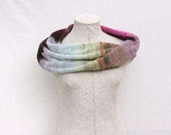 Chunky knit cowl / Mohair wedding cape / Christmas knit gift / Boho autumn scarf / Wool oversized shawl / Blanket scarf wool - Hydrangea 1