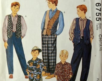 Uncut 1990s McCall's Vintage Sewing Pattern 6755; Size 7-8-10; Children's and Boys' Lined Vest, Shirt, Pants and Shorts