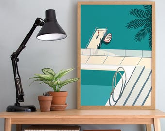 Holiday Art Print - A4 A3 Size - Swimming Pool & Beach Wall Art - Modern Minimal Decor - Tropical Summer Poster - Palm Tree Print