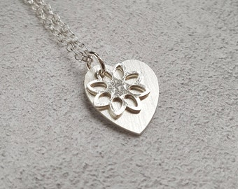 Heart Necklace - Flower Necklace - Silver Heart Necklace - Silver Flower Necklace - Silver Heart - Silver Flower - Silver Charm Necklace