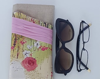 Sunglasses & Reading Case/Sunglasses Case/Sunset Pleated Eyeglasses Pouch/Linen Glasses Case/Gift For Her/ Bridesmaids Gift/Sunglasses Pouch