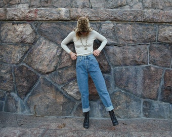 VINTAGE High waist mom jeans with classic 5-pocket design in blue denim 80's / 90's Big star Jeans