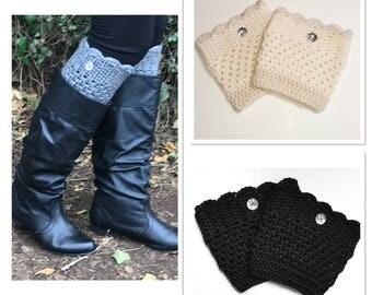 Boot Cuffs, Boot Socks, Crochet Boot Cuffs, Button Boot Cuffs, Boot Topper, Crochet Leg Warmers
