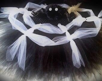 BanAnnaz Custom Crafts, Spider web tutu with fuzzy spider hair piece, spider web dress, spider and web tutu, spider costume, spider web rave