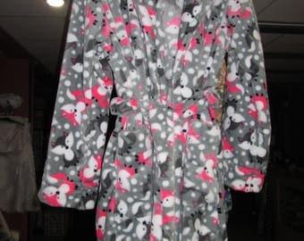 Woman, plush Fox fleece dressing gown