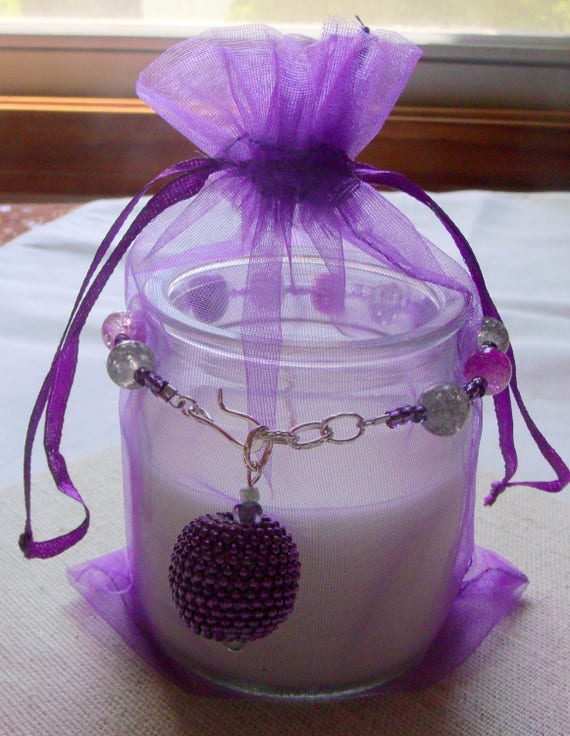 8 inch purple candle ring - beaded candle wrap - table decor - purple pearl bling - wrap design - pillar - hostess gift -  candle garland