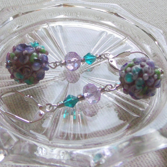 Lilac lamp work earrings - floral Earrings - spring jewelry - garden earrings -  Gift for wife -  Easter earrings - nature -Lizporiginals