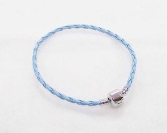 """20.5cm (8"""") Braided Leather European Charm Bracelet in LIght Blue"""