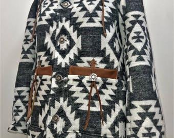 Winter coat / Parka - Grey Native american