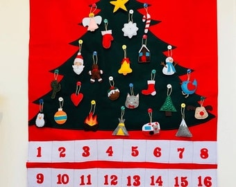 Felt Advent Calendar,Christmas Advent Calendar, Felt Christmas Tree, Felt Christmas Ornaments, Kids Advent Calendar