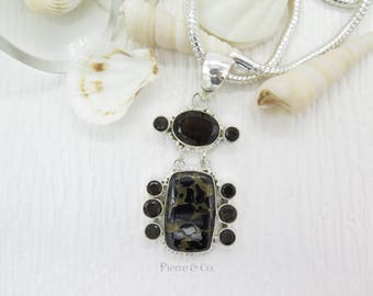 Smoky Topaz and Black Copper Turquoise Sterling Silver Pendant and Chain