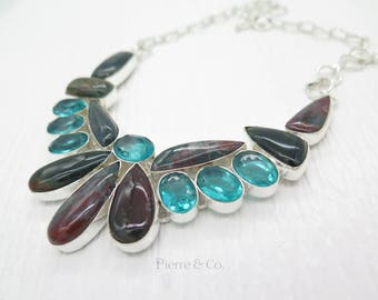 Blood stone and Blue Topaz Sterling Silver Necklace