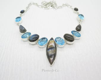 Blue Fire Labradorite Blue Topaz Sterling Silver Necklace