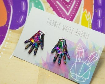 Prismatic Hands Statement Studs