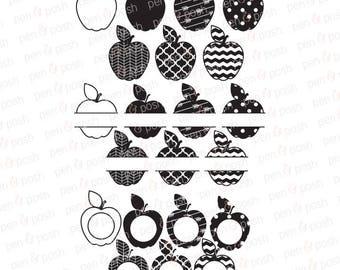Svg - Apple SVG - Chevron Apple SVG - Teacher Apple SVG - Apple Monogram Svg - Apple Dxf - Cut File for Cricut Silhouette