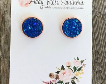 12mm royal blue druzy, druzy studs, druzy earrings,  rose gold druzy, rose gold earrings