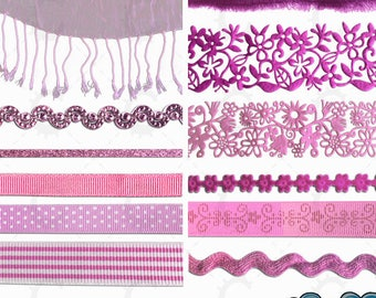 Pink Ribbon and Lace Overlays - Photographic Clipart Collection