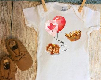 Canada Day Onesie ®, Poutine Onesie, Pancakes, July 1st Onesie, Maple Leaf Outfit, Canada Day Onesie, Maple Leaf Onesie, Canadian Onesie