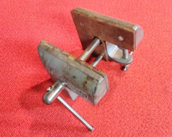 "Vintage Stanley 4 1/2"" Bench Top Vise Duel Surface Wood Padded Jaws"
