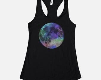 Rainbow Full Moon Tank - Moon Graphic Tee - Outer Space Shirt - Astronomy Shirt - Moon Lover - Trippy Space Tshirts - Mystic Clothing