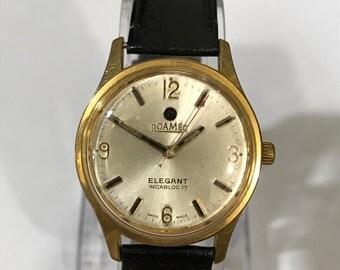 Vintage ROAMER ELEGENT Swiss made Manual winding watch~RARE Old Antique watch~all original~