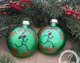 May All Your Miles Be Merry Ornament || Running Ornament || Personalized Christmas Ornament