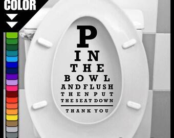 P in The Bowl Toilet Seat Sticker - CuSTOM COLOR! Vinyl Decal - Bathroom Washroom Label Pee - Optical Optician Optometrist Novelty Gift Idea