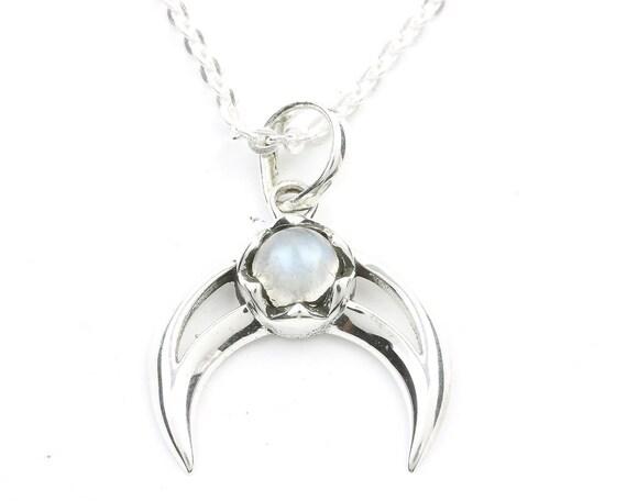 Moonstone Moon Sterling Silver Necklace, Crescent Moon Jewelry, Rainbow Moonstone, Gemstone, Meditation, Spiritual, Boho, Gypsy, Festival