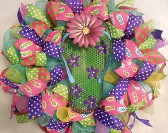 XMAS in JULY SALE-15%off Summer Wreath, Summer Decor, flip flop wreath, summer flip flop wreath, wreath, colorful wreath, bright wreath, sum