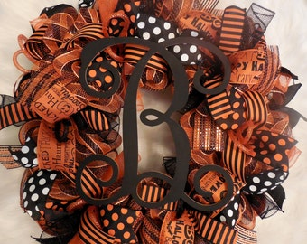 Halloween Marquee Wreath, Halloween Wreath, Happy Halloween, Wreath, Wreaths, Halloween wreaths,Happy Halloween, Orange and black wreath