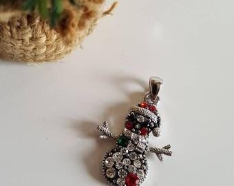 Christmas Snowman Silver tone Pendant with rhinestones