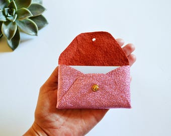 Metallic pink leather card case / Metallic pink envelope card holder / Leather business card case / Genuine leather
