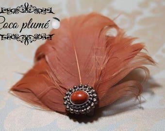 Burnt pink Turkey feathers Fascinator