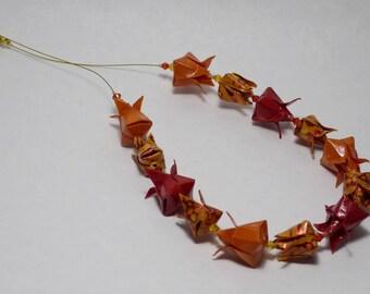Orange tulips Origami necklace