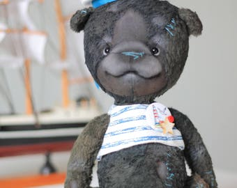Teddy bear artist Sailor 8.6 inches/22 cm. Toy handmade. Free shipping.