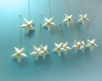 Vintage Christmas ornaments, decorated paper mache stars, set of 12, Lot15