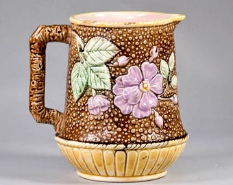 Antique English Dogwood Majolica Pitcher Jug with Twig Handle [CO/SK29]
