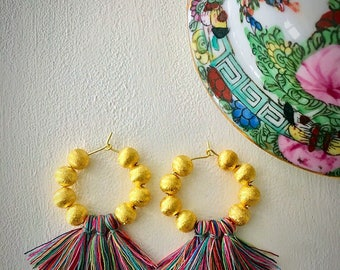 GOLD Beaded Tassel Hoop Earrings | MULTICOLOR, multicolored, hoops, tarnish resistant, lightweight
