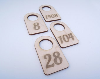 Wooden Number Tag With Number for Crafts - Laser Cut - Dressing Room Number - Number Tags - Wardrobe Numbers