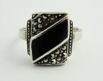 Vintage Onyx Bar Ring- Sterling Silver