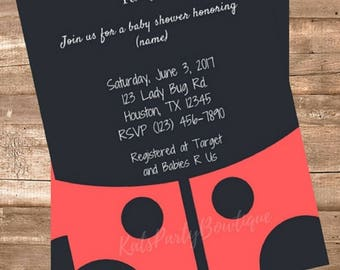 Lady Bug Personalized Baby Shower Invitation