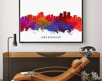 Anchorage Skyline Art, Anchorage Print, Anchorage Painting, Anchorage Poster, Colorful Anchorage, Alaska Wall Art (N193)