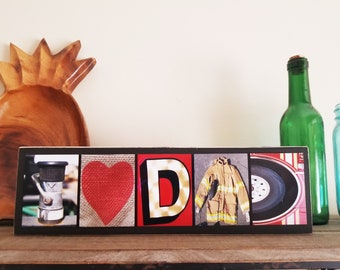 I Love Dad Sign Fathers Day Firefighter Dad Gift Firefighter Husband Gift For Firefighter Gift For Him Firefighter Father Firefighter Decor