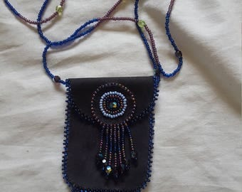 Mayan Indian Beaded Black Leather Medicine Pouch Necklace Native American Style Medicine Bag Mojo Bag Leather Medicine Bag Necklace