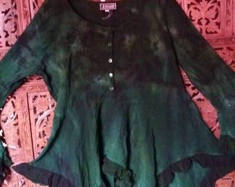 emerald green celtic hippie tie dye top