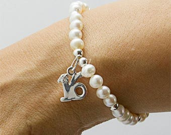 Freshwater Pearl Bracelet 16th Birthday Gift Sterling Silver Charm & Sterling Silver Pearl Drop Earrings or Stud Earrings to match